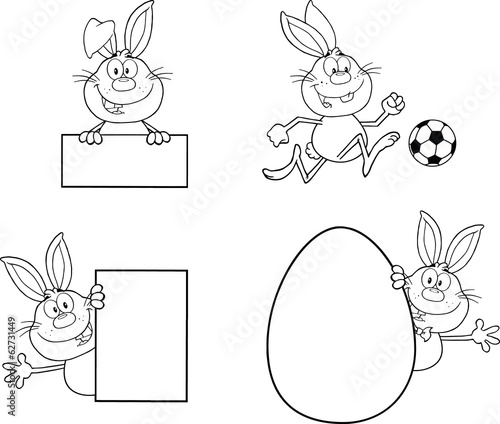 Rabbit Coloring Cartoons 1. Set Collection