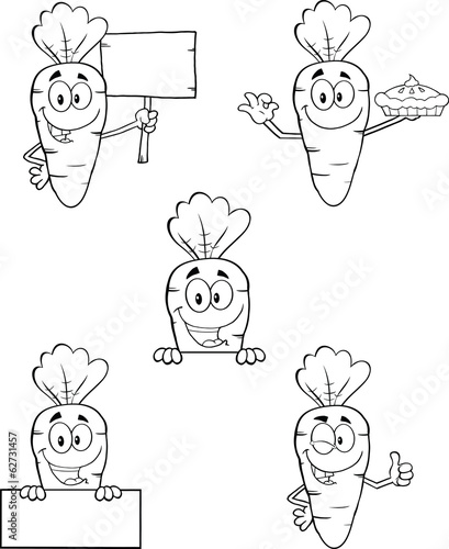 Black And White Carrot Cartoon Characters 2. Set Collection