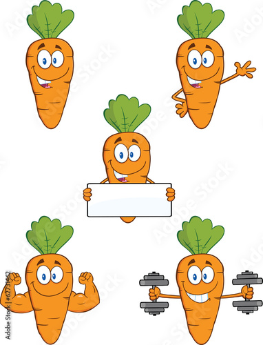 Carrot Cartoon Characters 1. Set Collection