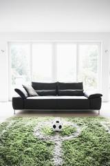 Deutschland, Köln, Fußballplatz im Wohnzimmer