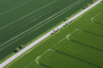 Deutschland, Blick auf grüne Felder und Straßen