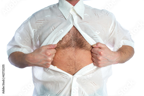 Man tearing off his shirt