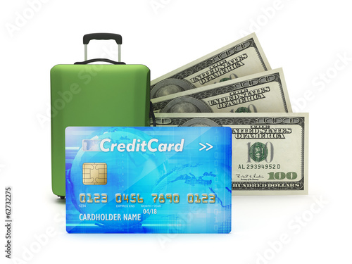 Credit card, travel bag and dollar bills