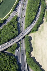 Deutschland, Bonn, Ansicht des Autobahnkreuz, Luftbild