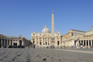 Italien, Rom, Blick auf St. Peter -Basilika und St. Peter Platz in der Vatikan