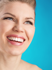 Perfect white toothy smile. Dental care woman.