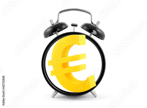 Time is money. Alarm clock with euro symbol.