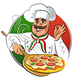 Cook pizza. Vector illustration isolated on a white background - 62733269