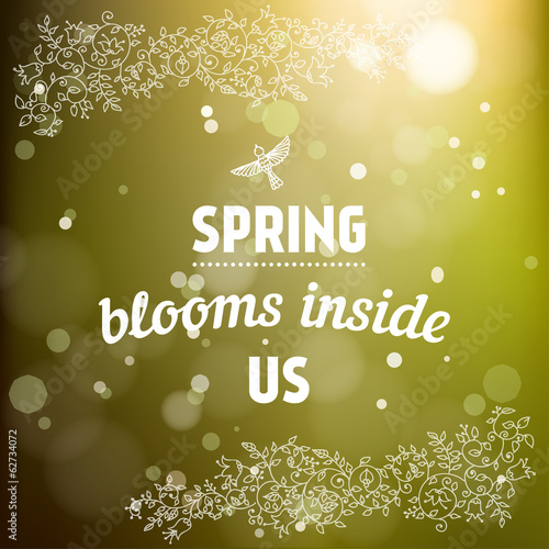 Spring blooms inside us card in vector