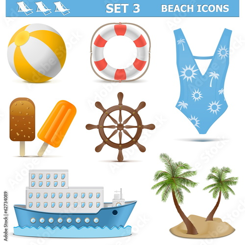 Vector Beach Icons Set 3