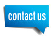 Contact us blue 3d realistic paper speech bubble