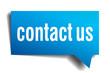 Contact us blue 3d realistic paper speech bubble
