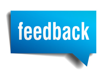 Feedback blue 3d realistic paper speech bubble isolated on white