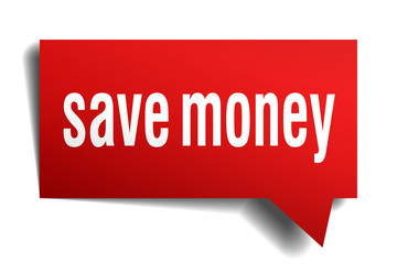 Save money red 3d realistic paper speech bubble on white