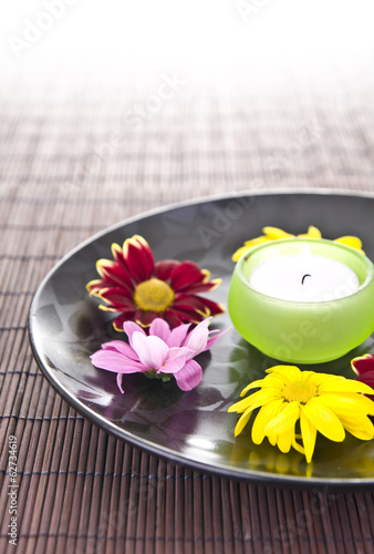 spa motive with flowers and candle