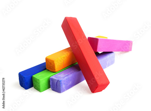 Colorful chalks on a white background
