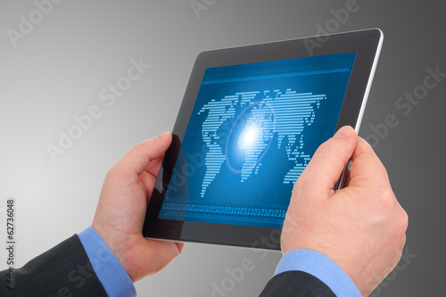 Digital world concept on tablet , on businessman hands