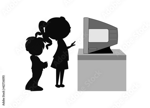 girl in front of tv with boy