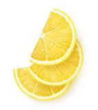 Slices of lemon isolated on white