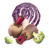 beetroot, red cabbage  and broccoli