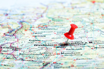 .Push pin in a map, close up