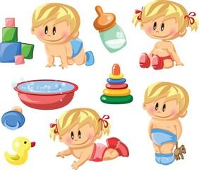 Векторная иллюстрация мальчиков, девочек-младенцев