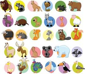 Набор различных животных и птиц