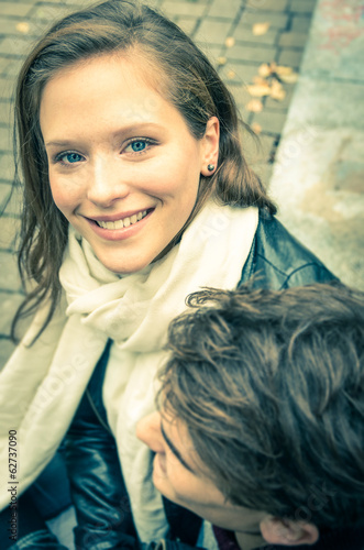 Beautiful girl with boyfriend - Couple at the beginning of a lo