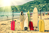Surfboards at the beach - Nostalgic retro version