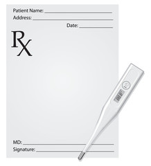 Prescription and thermometer
