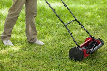 Person moving the lawn