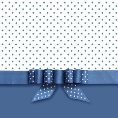 Bow on blue and white background