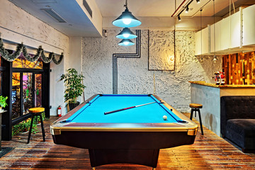Contemporary interior, living room with a snooker table