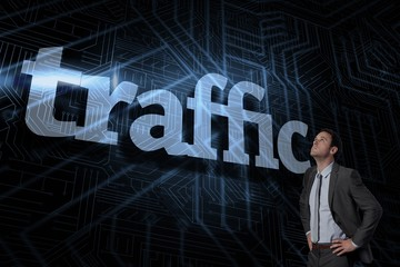 Traffic against futuristic black and blue background