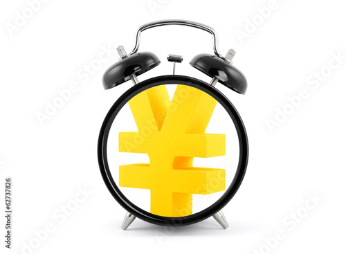 Time is money. Alarm clock with golden yen symbol.