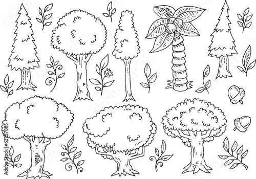 Tree Forest Doodles Vector Illustration Art Set