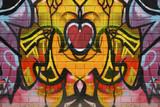 Abstract graffiti on a brick wall