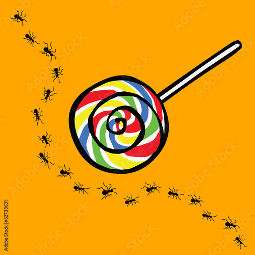 ant and lollipop , uninterested concept