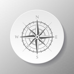 Wind rose compass vector symbol with shadow