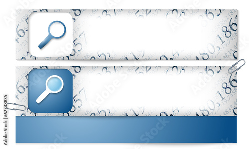 set of two banners with the texture of the numbers and magnifier