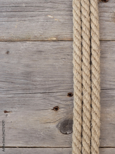 Rope on dark wood