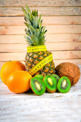 Fresh tropical fruits pineapple, grapefruit, kiwi