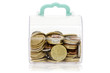 Clear plastic box with coins