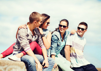 group of teenagers hanging out