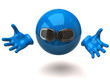 Blue sphere with sunglasses and open arms