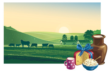 Summer morning landscape, and dairy products