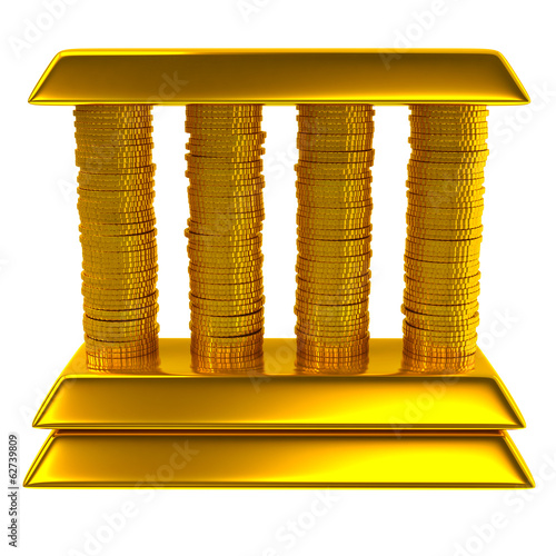 Bank made of gold bars and coins isolated on white background