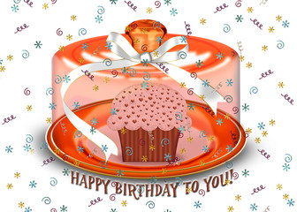 birthday cupcake on domed plate