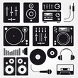 Vector set of various stylized dj icons - 62741077