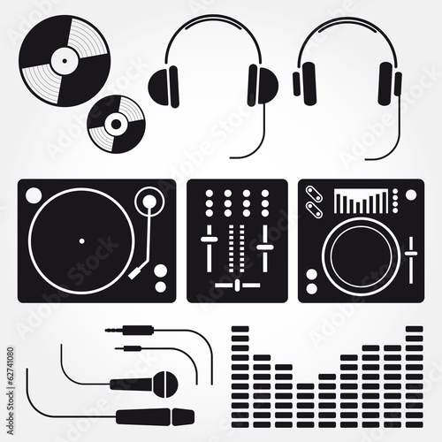 Vector set of various stylized dj icons